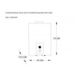 Whirlpool WK71322Q Calentador de Gas LP 2 Servicios Blanco - Envío Gratuito